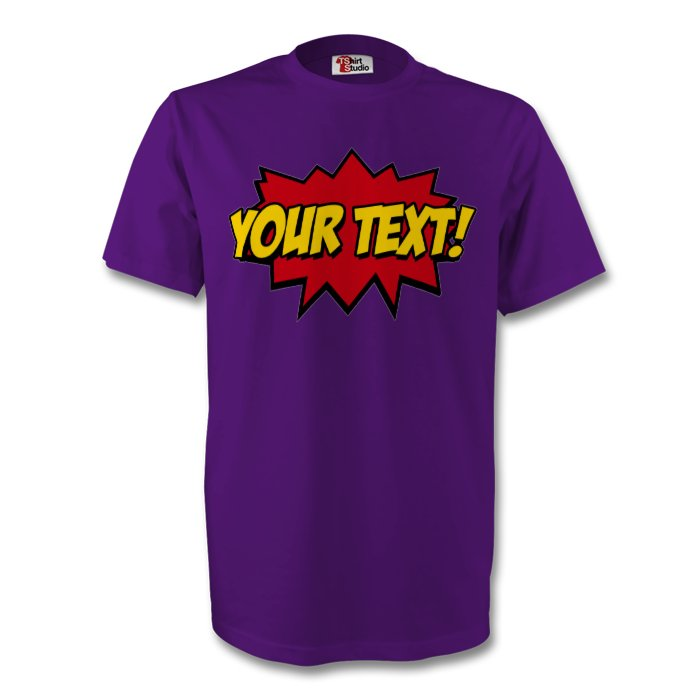 personalised kapow superhero t shirt typography design