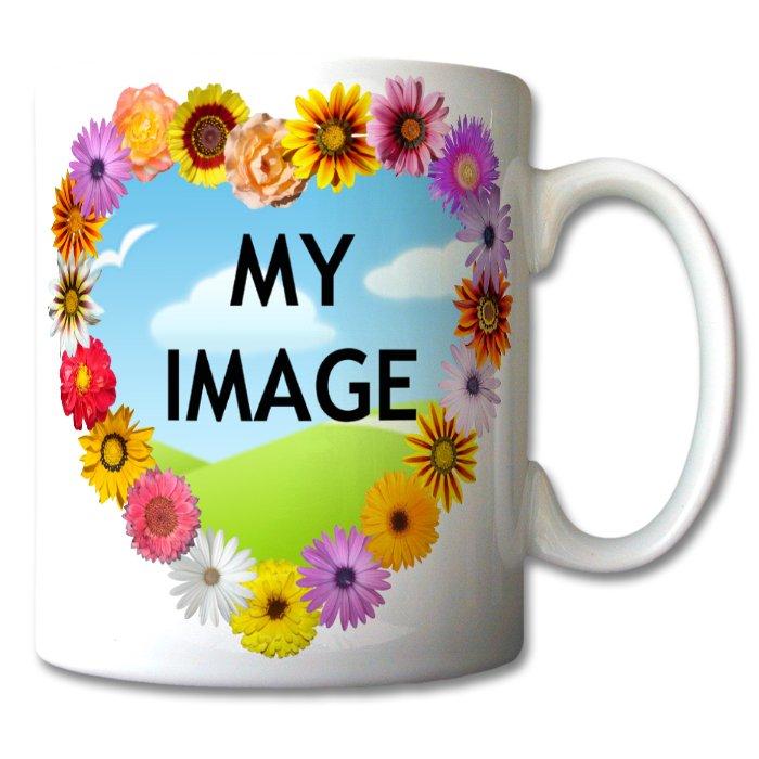 Custom Flower Heart Mug | Love-gifts | Design Your Own ...