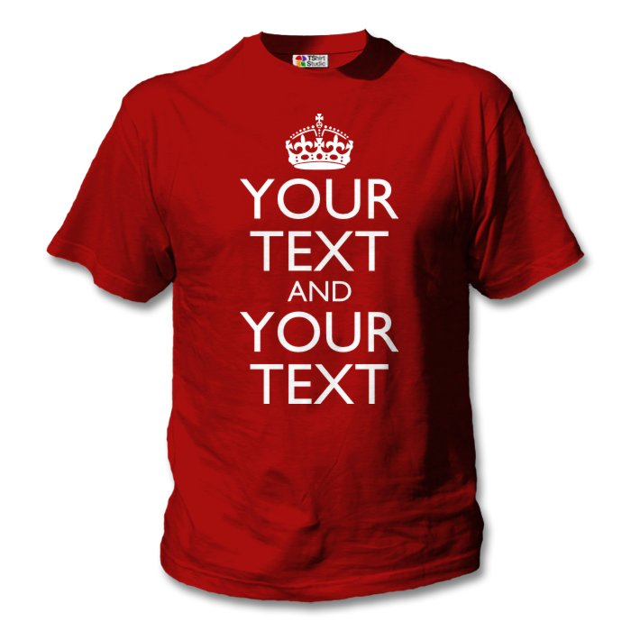 Red keep calm t shirt classic design your own t shirts for Print my own t shirt design