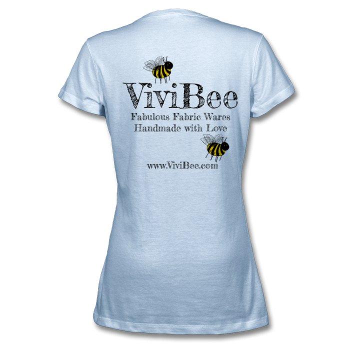 ViviBee Womens V-Neck T Shirt Sky Blue