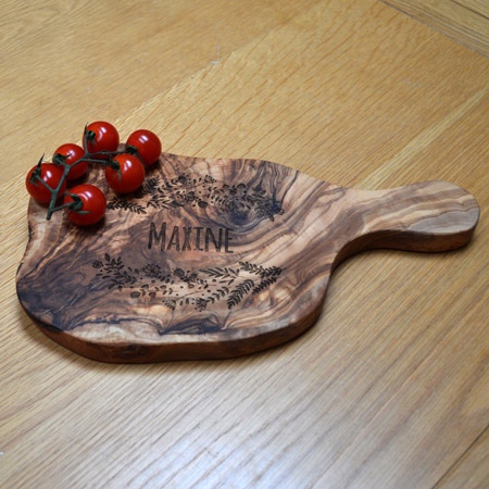 Engraved Olive Wood Platter with Handled