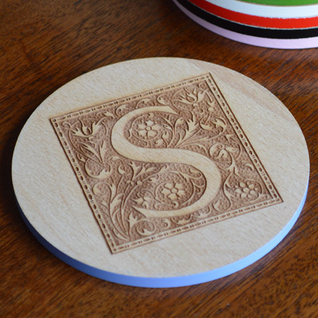 Personalised engraved round wood coasters