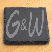 Engraved Natural Edged Slate Coaster