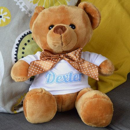Personalised Brown Velvet Bear in T-Shirt
